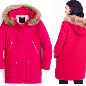 NWT J.CREW Chateau Parka Italian Coat Magenta Pink